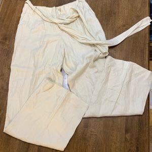 Wide leg paper bag linen pants